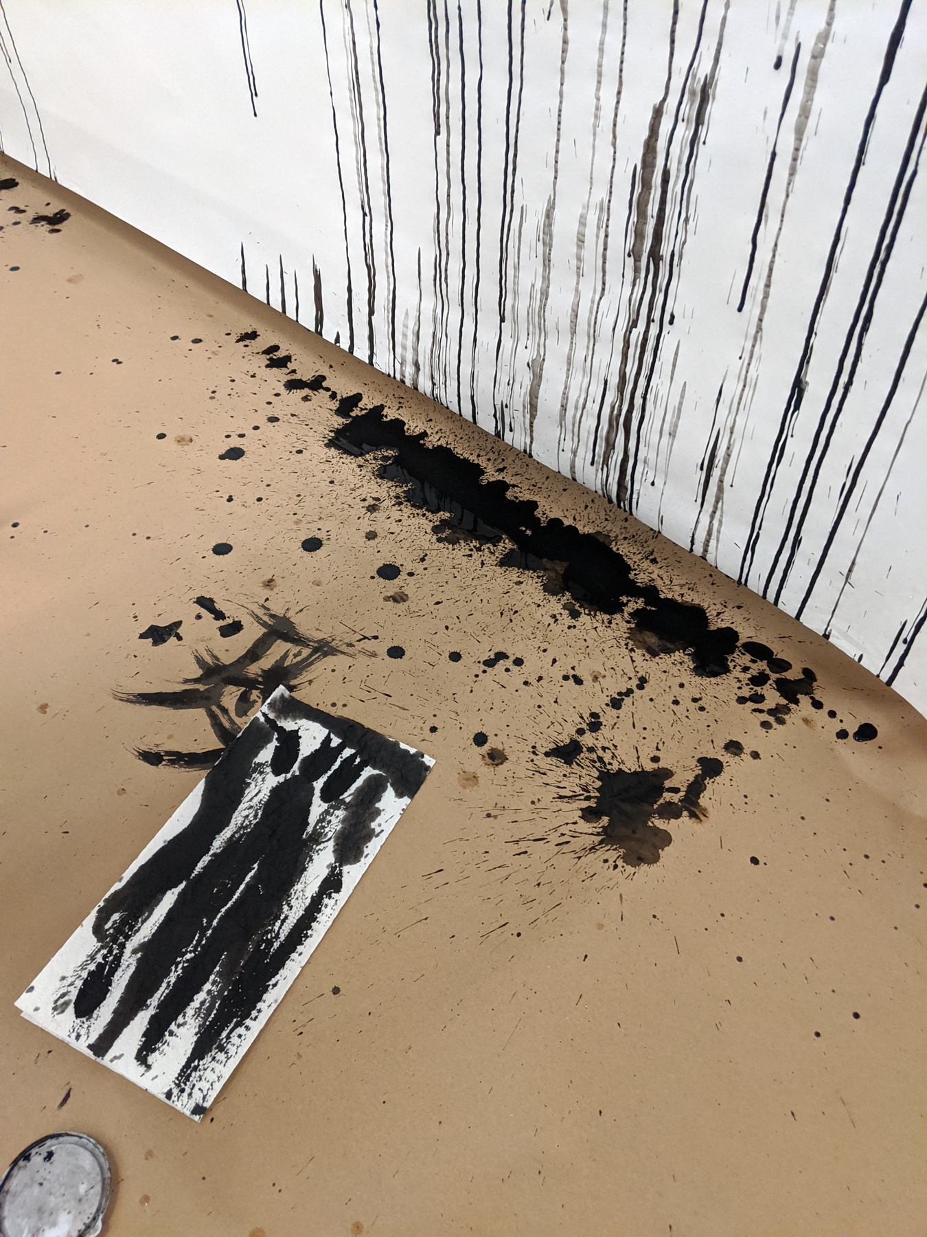 Rapid Fire Text: ink dripping down the canvas
