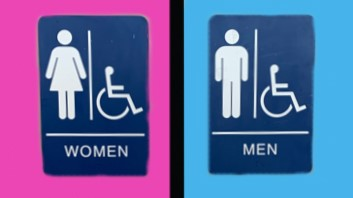 pink and blue bathroom sign