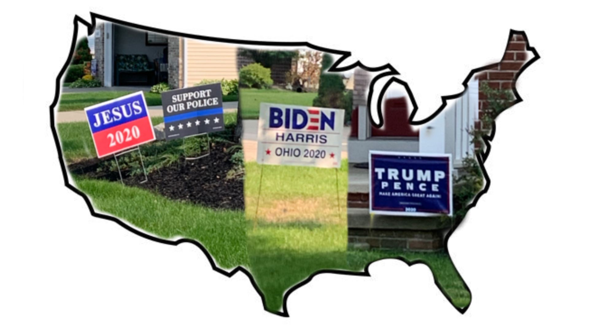 outline of united states with political signs in yards