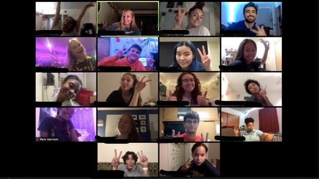18 friends talking on Zoom video call