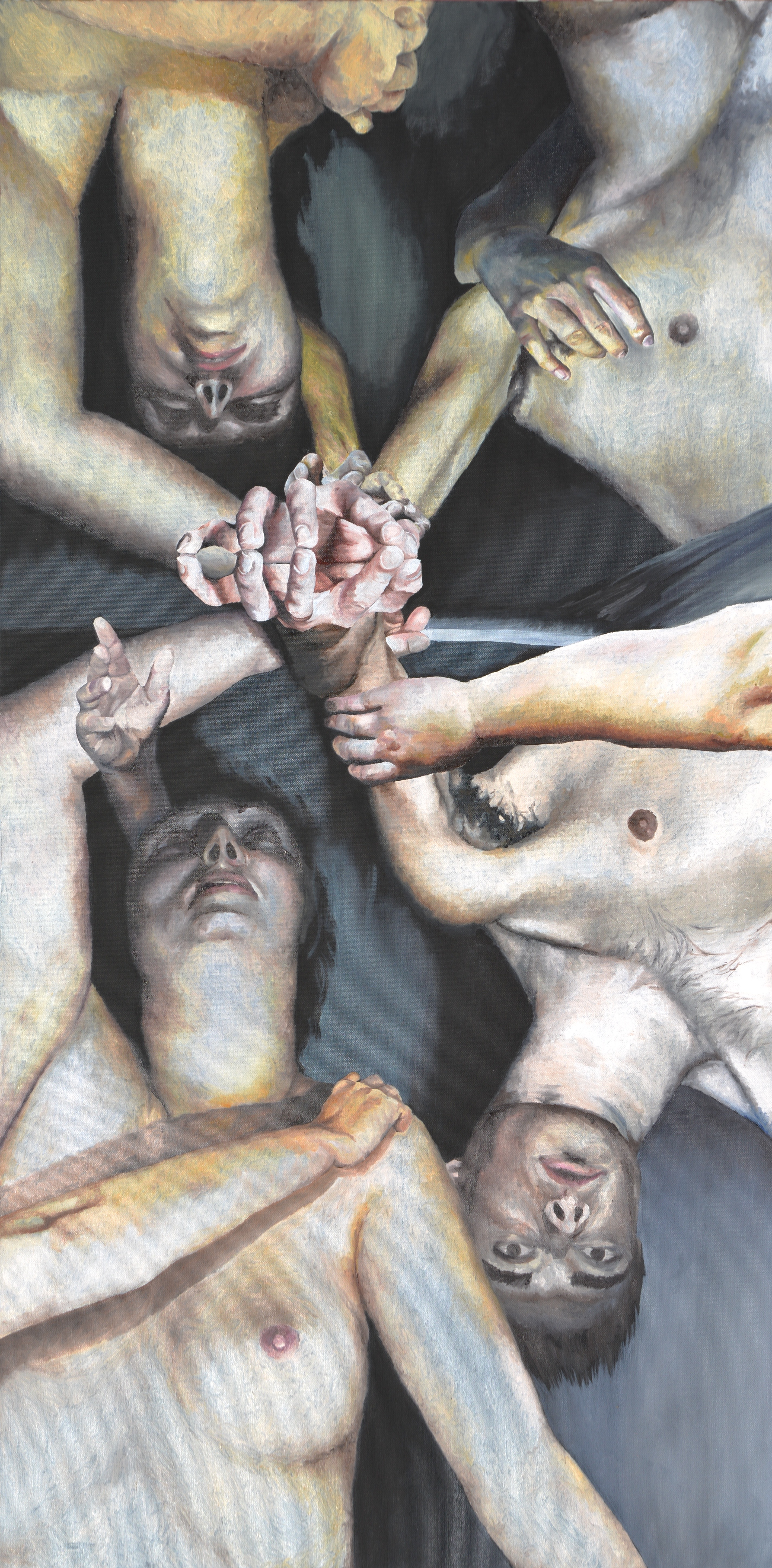 A painting of four shirtless people lying on their backs with their heads together and their hands raised above their heads to clasp hands. The image is full of cool grays, muted yellows, and cool pinks.