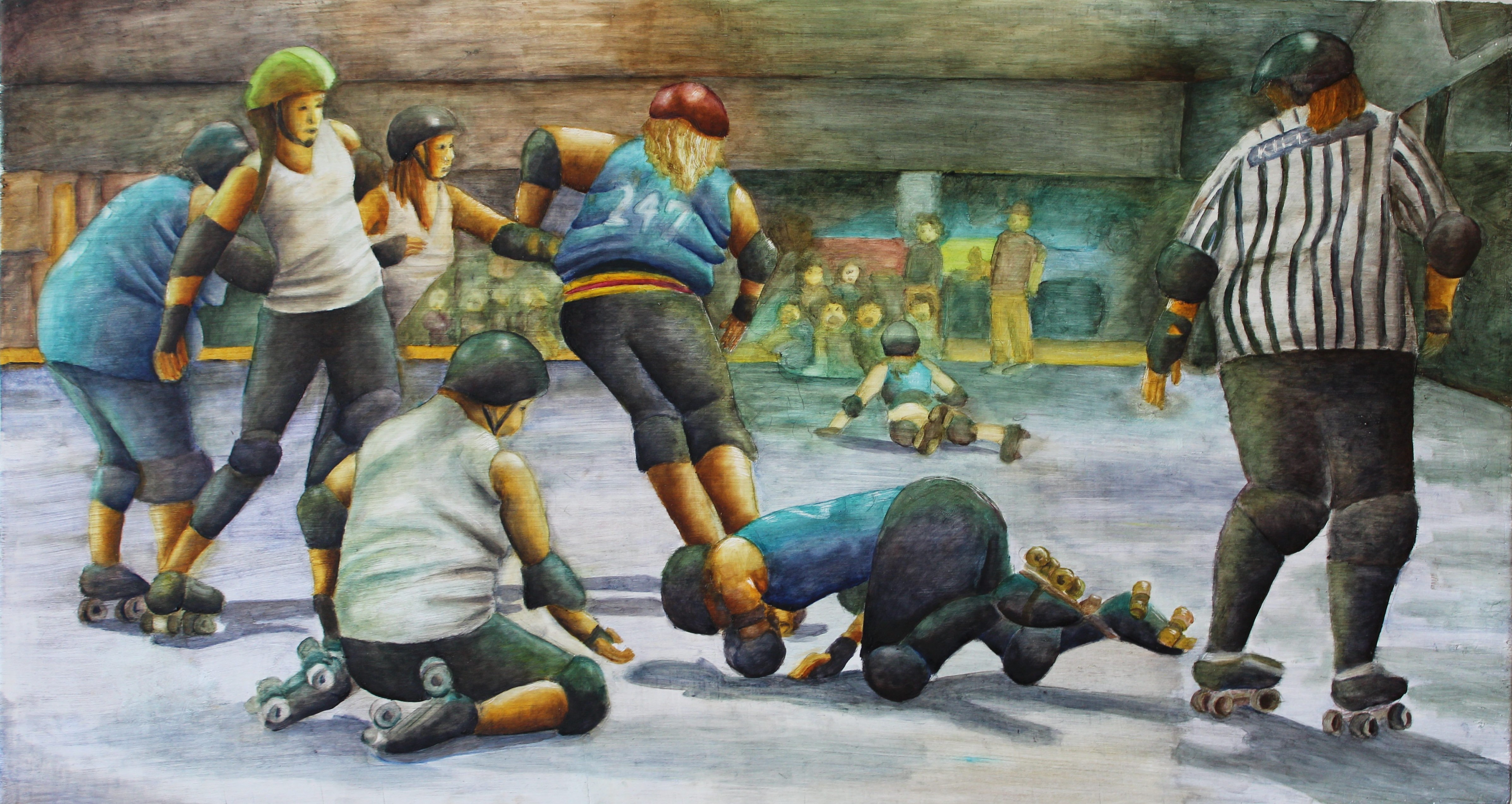 A painting of roller derby players and a referee on a skating track. The viewer has a perspective from behind the roller skaters and referee, not being able to see many faces. Two of the skaters are on the ground, while others rush around them.
