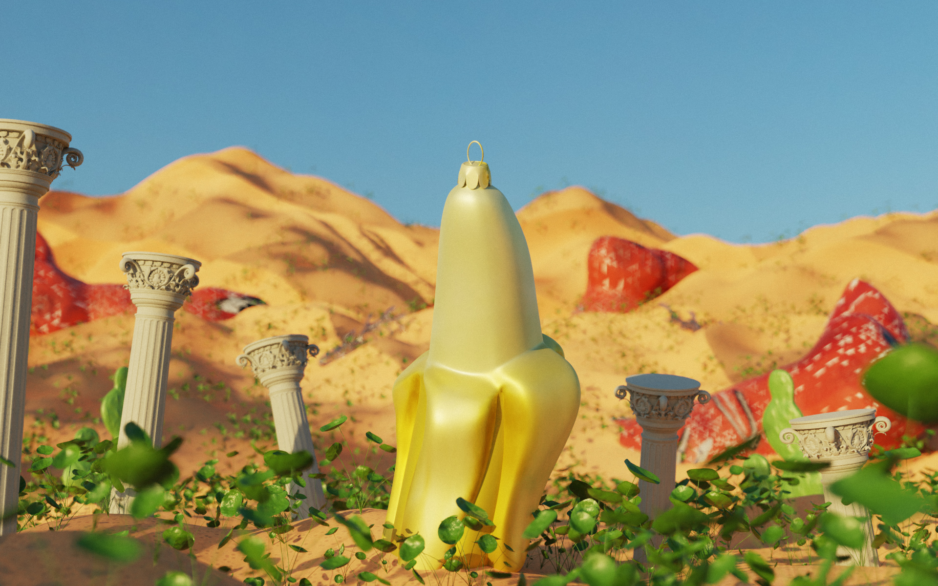 3D rendering centered on a stylized banana surrounded by roman styled columns, approximately the size of the banana, in desert setting. The bottoms of the columns and banana are surrounded by greenery. Mountains of sand and red structures fill the background and a blue sky covers the top third of the image.