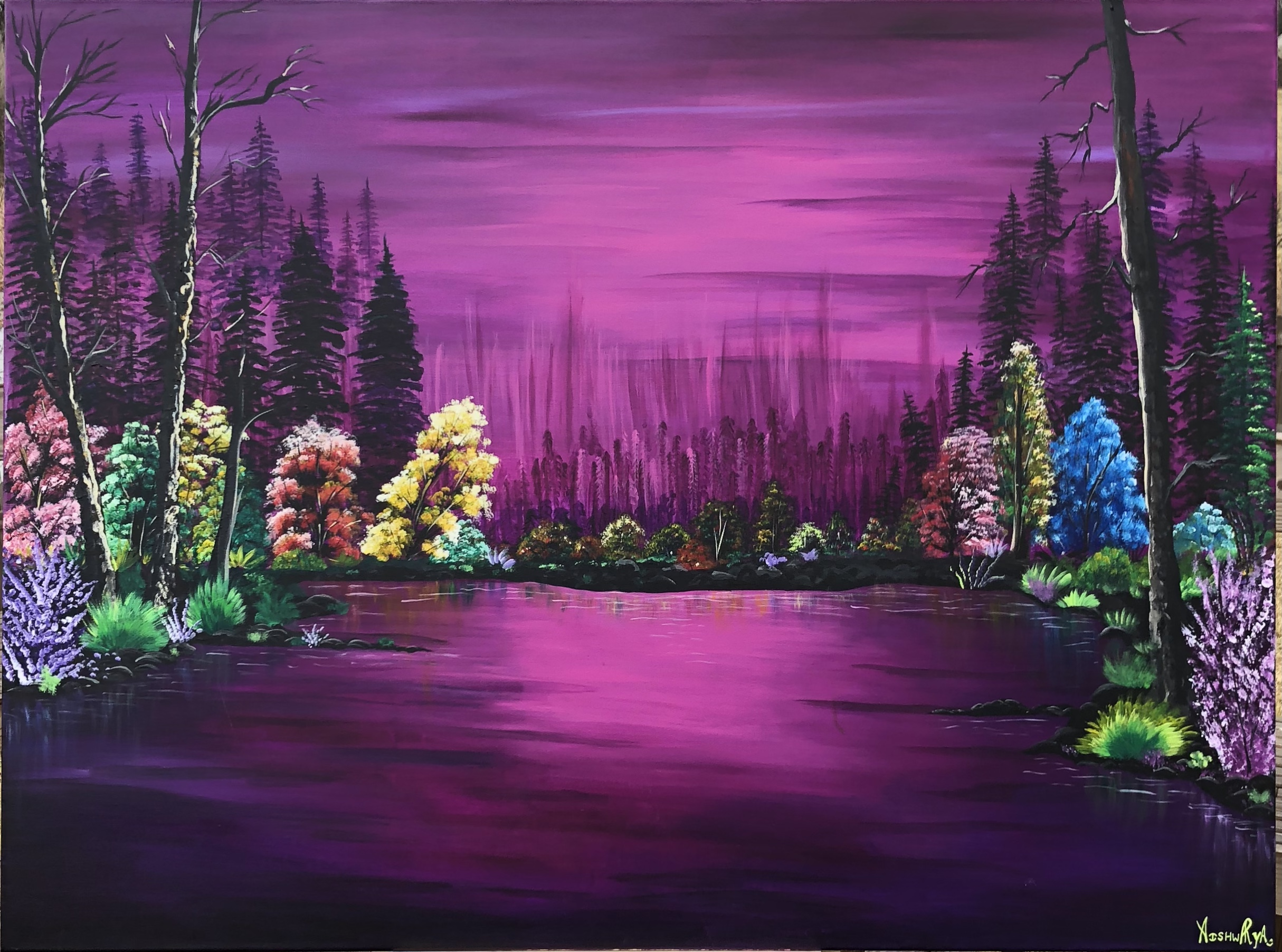 A painting of an outdoor landscape with a vibrant purple sky and ground with a row of multi-colored trees (greens, blues, yellows, purples, reds) at the horizon line in the middle of image that is receding towards the center from both left and right edges of the painting. The center of the painting is the most vibrant warm purple.