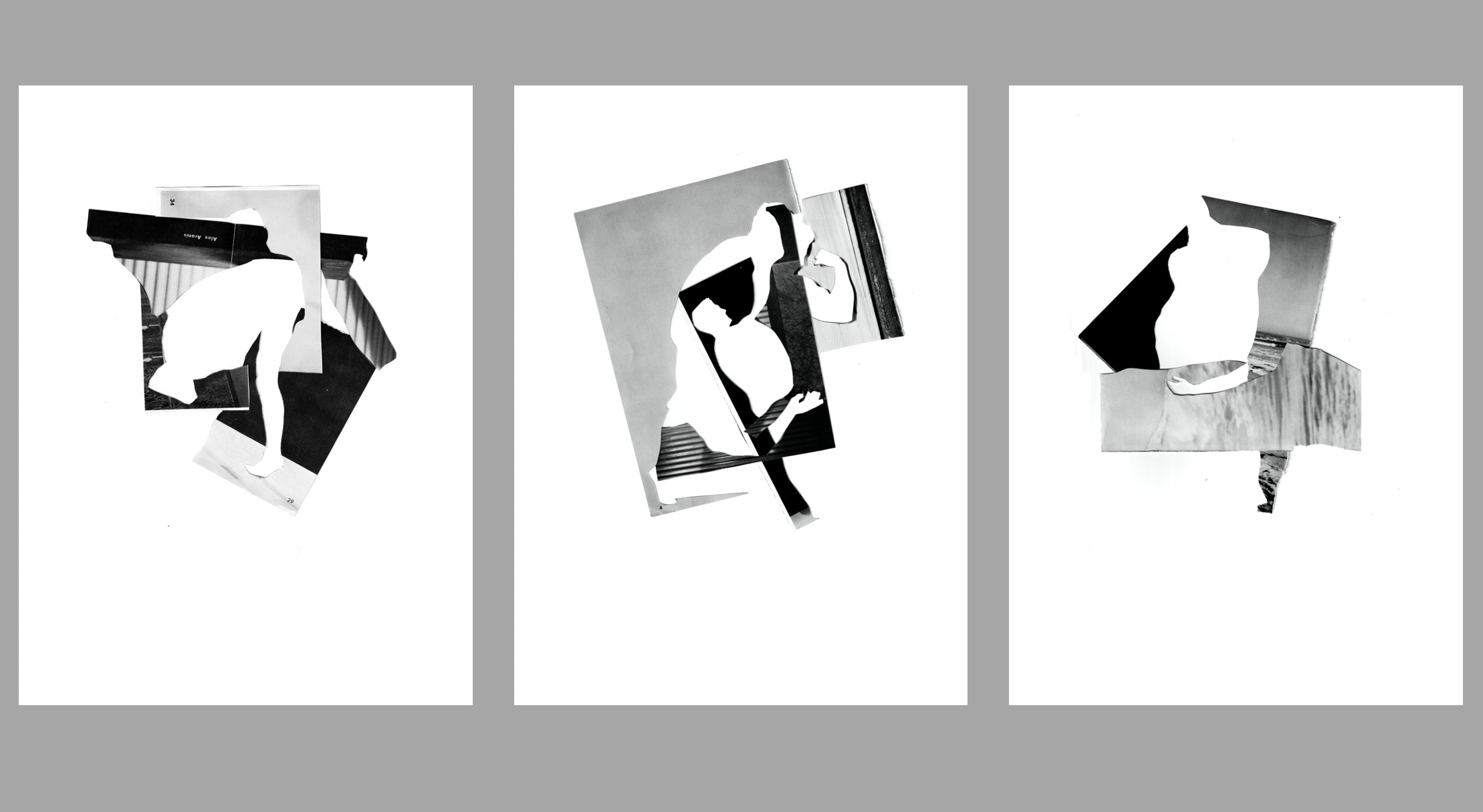 A triptych of black white and grey photo collages consisting of geometric and angular sections of images and full color panels. Some of the cut outs in the images depict pieces of the human form.