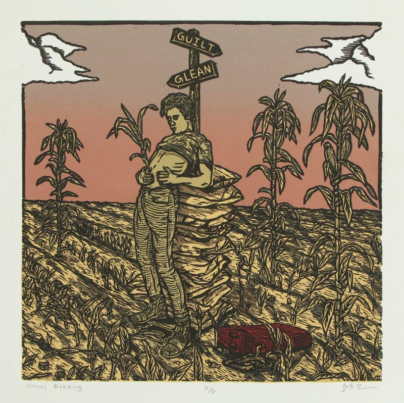 Relief print of a person in a corn field with shirt lifted to expose the stomach and reveal and a corn stalk emerging from belly button