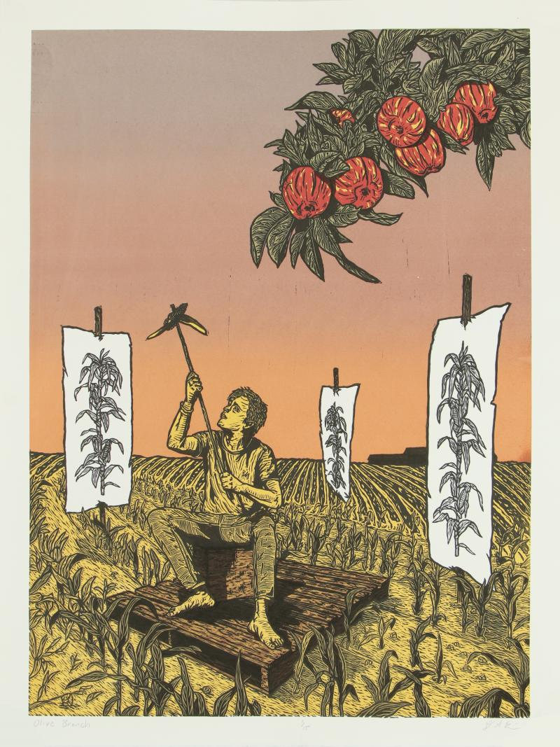 Relief print of a person squatting in a field holding a stick in their hands rasied to the sky. Surrounded by three drawings of corn stalks standing the the field