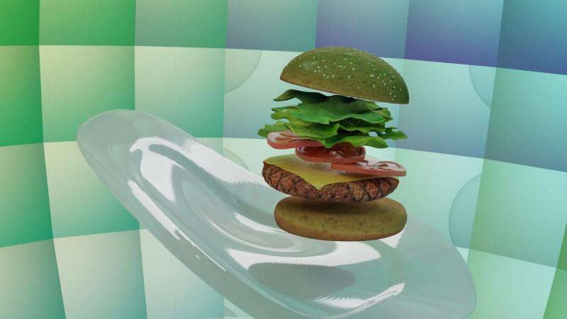 Digital rendering of a burger floating above a plate with the layers of lettuce, tomato and cheese floating suspended between the top and bottom bun.