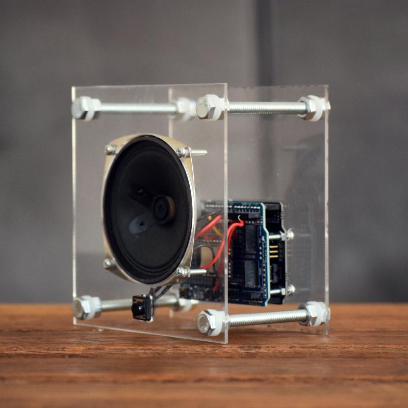 Photograph of a small speaker in a clear housing to reveal interior wiring and electronics