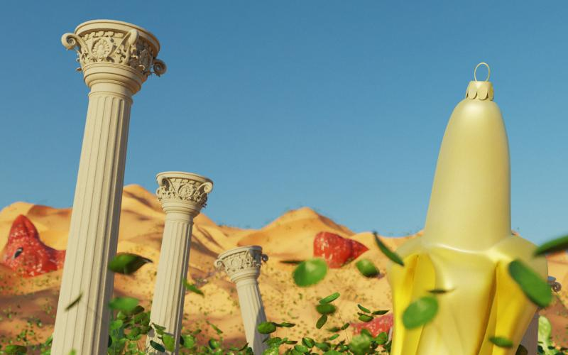 3D rendering of a stylized banana surrounded by roman styled columns in desert setting
