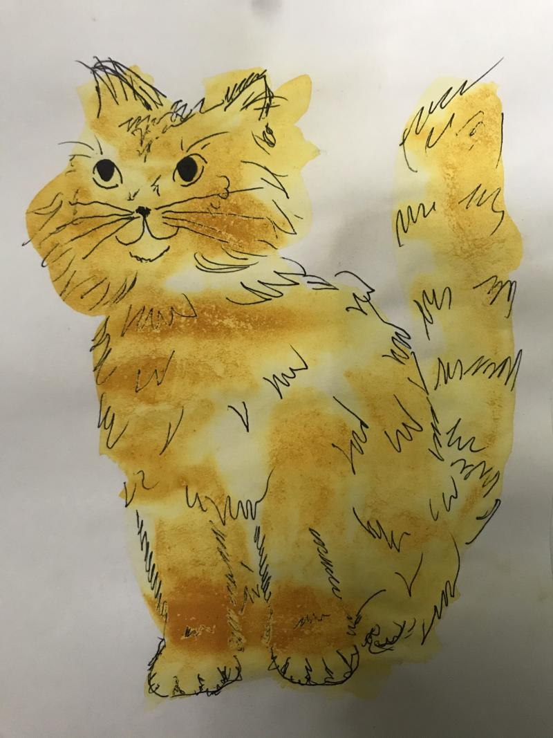 a painting of a cat created from turmeric paint