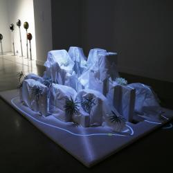 contemporary art with plants and LEDs