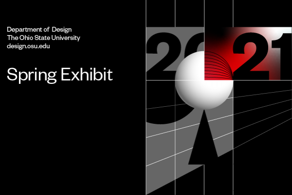 2021 Design Exhibition Spring icon, graphic featuring the title of exhibition and information