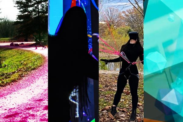 Iteration X  Compilation Image of four images from the exhibition in a horizontal format. From left to right: a landscape image of a pink path through a green space; an almost entirely black field with blue glowing lights; a figure wearing all black and a VR headset gazes upward while standing outdoors; a light blue filed with floating a geometric shape.