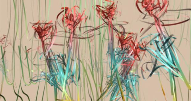 Flowers in Motion, Frame 080 ribROSE series, unix environment, 2004