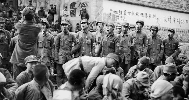 Japanese Captives Singing as They Express Gratitude to Their Communist Captors before Release, 1938