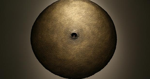 """Aaron Thompson: """"Oculus,"""" masking tape, paint, plastic ball, 2014"""