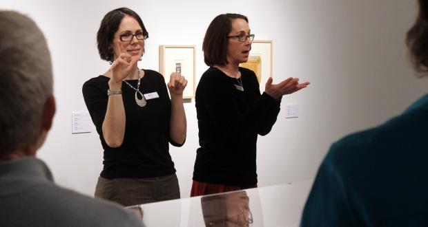 Brenda Brueggemann and ASL translator, photographed by Ada Matusiewicz