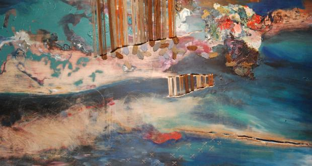"Annabelle Weise: ""Untitled,"" wood, thread, mat board, acrylic, 2012"