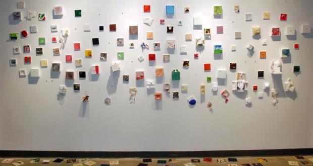 "Kaycee Moore: ""Unwanted Kittens,"" paint on canvas, tile, 2011-2012"