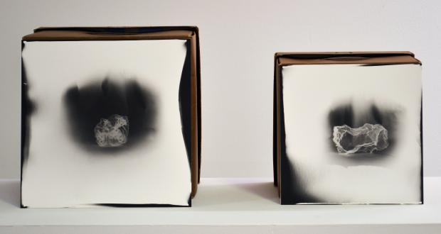 "Image of Nick George: ""White Cloud 10/12,"" found objects, tape, silver gelatin paper, negatives, 2013"