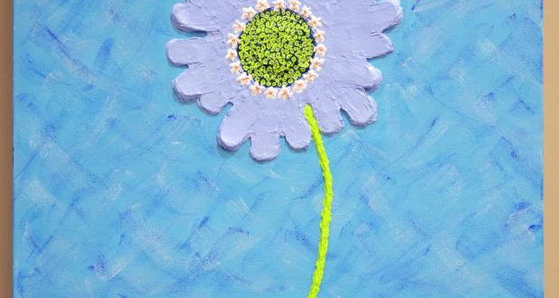 "Image of Drew Ribarchak: ""Scabiosa caucasica,"" acrylic paint with heavy gel, 2013"
