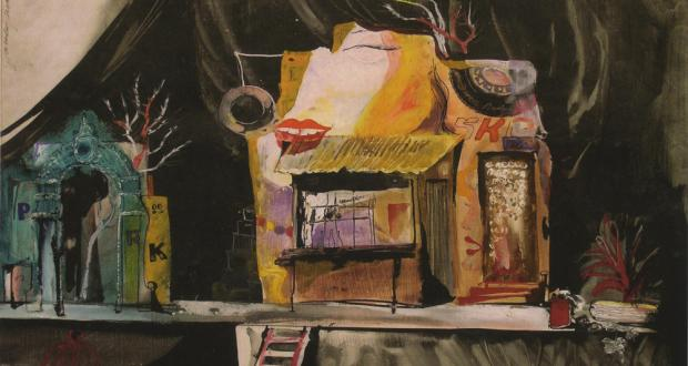 Scene design for Love Letters, mixed media, 1971