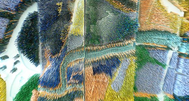 Jason Kentner, model of land use on the Olentangy River, toothpicks and foam, 2008, detail