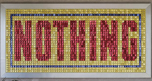 Jack Pierson, Nothing (Yellow, Blue, Red), 1992, mixed media, 54 x 112 x 1 inches (137.2 x 284.5 x 2.5 cm) Collection of Blake Byrne. Image Copy-write Jack Pierson; courtesy of Regen Projects, Los Angeles; Photo by Alan Shaffer.