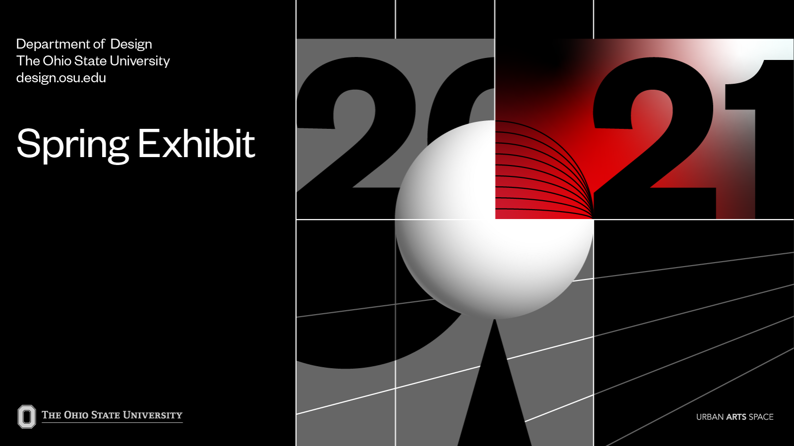 2021 Design Exhibition Spring page header, graphic featuring the title of exhibition and information
