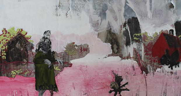 "Toni Jo Coppa: ""Caution,"" craypas, paint stick and oil paint on burned wallpaper on panel, 2012"