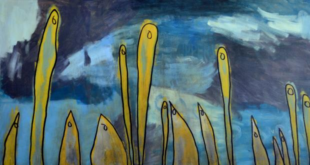 "Charles Porter: ""Clouded Chorus,"" acrylic paint and marker. Image from Open Door Art Studio."
