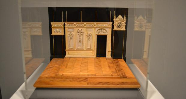 "Image of Tony Straiges: ""Hall with Clock,"" set design model for Ivona, Princess of Burgundia, Adelphi College, New York. Tony Straiges Design Collection. The Jerome Lawrence and Robert E. Lee Theatre Research Institute. 1974"