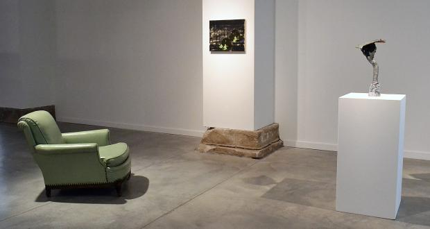 "John Thrasher and Laura Bidwa: ""What do you do?,"" ceramic sculpture, oil and acrylic on panel, chair"