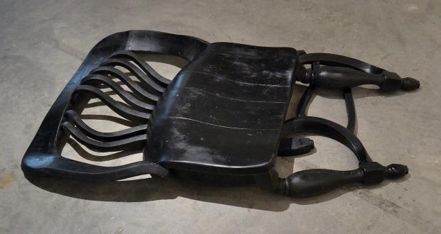 """Candace Black: """"Chair #1,"""" Reoflex urethane rubber, black pigment, 2013"""