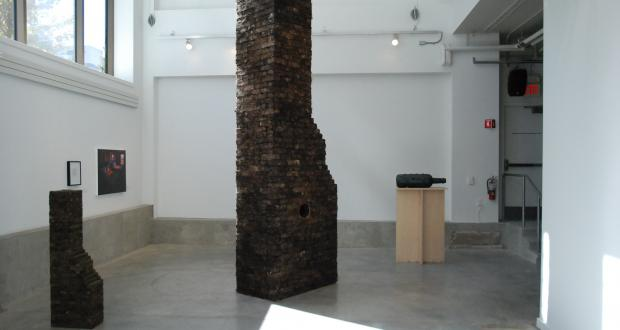 "Malcolm Cochran: ""Child's Chimney,"" 1992 (left); ""Ohio Chimney,"" 1993 (center);  ""Model for 'Private Passage,"" 2003 (right)"