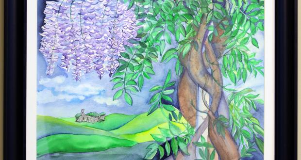 "Image of Vanda Sucheston Hughes: ""Wisteria Dreaming,"" watercolor, 2013"