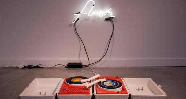 Image of Andres Felipe Castelblanco Olaya: flush. vinyl records, turntables, neon-custom electronics, 2013