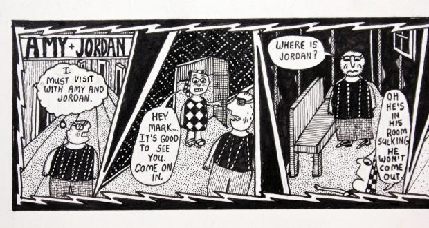 "Mark Beyer: ""Amy and Jordan comic strip"" (detail), 1993"