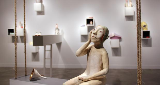 "Image of Gun Young Kim: ""Silent,"" earthenware clay, glaze, 2014"
