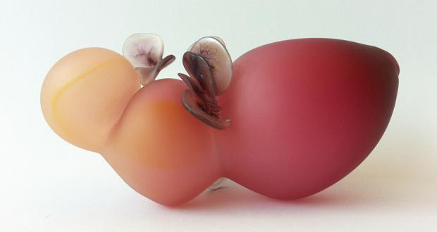 "Molly Jo Burke: ""Body Form (Fuchsia over Yellow),"" blown, hot-sculpted, sandblasted glass, 2012"