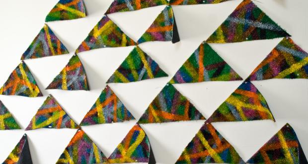 "Luke Ahern: ""Turf Triangles,"" enamel, livestock marker on shaped artificial turf, 2014"