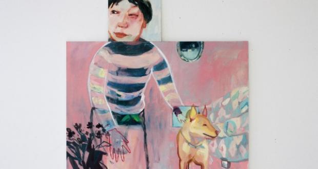"Dan Jian, Zhen and Dog, Oil on Canvas, 36""x 48"" and 14""x 14"", 2015"