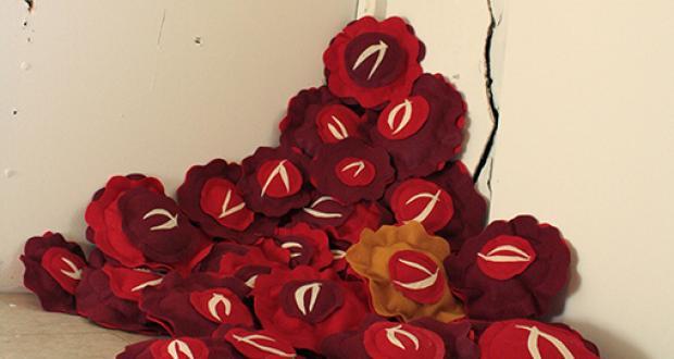 "Bethany Haeseler: ""Incubation Day 14: Bedridden (installation),"" fabric, polyfill, 2012"