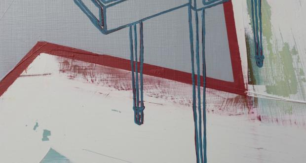 "Image of Moyra Derby: ""PTS template 6 (detail)"", leaning panels, oil on acrylic sheet, 2013"
