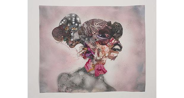 Wangechi Mutu, Pretty Double-Headed, 2010, mixed media,  ink, collage, and spray paint on Mylar, 34 x 42 3/4 inches (86.4 x 106.1 cm) Collection of Blake Byrne. Image Courtesy of Susanne Vielmetter Los Angeles Projects; photo by Robert Wedemeyer.